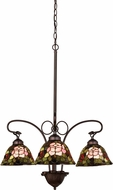 Meyda Tiffany 27418 Tiffany Rosebush Tiffany Purple / Blue / Burgundy Mini Hanging Chandelier