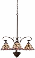 Meyda Tiffany 27419 Daffodil Bell Tiffany Pink Mini Chandelier Light
