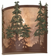 Meyda Tiffany 29327 Tall Pines Rust/Silver Mica/Green Trees Wall Light Sconce