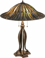 Meyda Tiffany 29385 Tiffany Lotus Leaf Tiffany Green / Blue Table Top Lamp