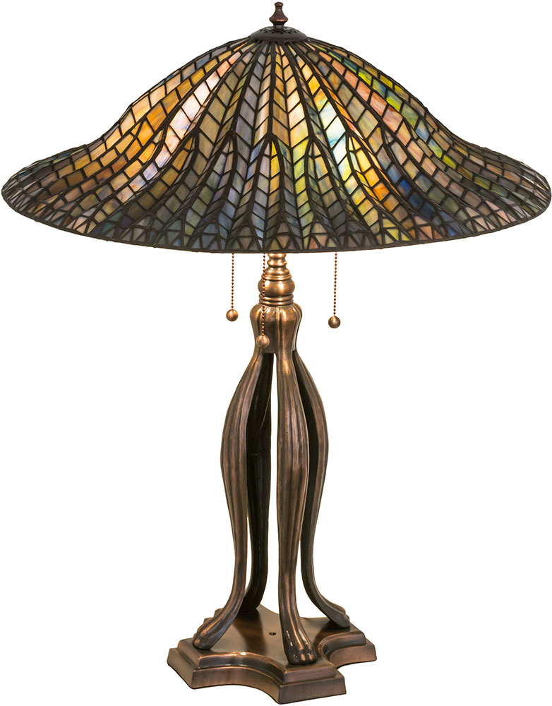 Meyda Tiffany 29385 Tiffany Lotus Leaf Tiffany Green / Blue Table Top Lamp.  Loading Zoom