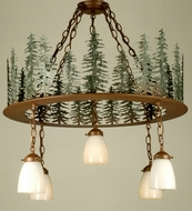 Meyda Tiffany 29557 Tall Pines Rustic Rust Finish 32  Tall Chandelier Lighting