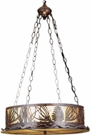 Meyda Tiffany 29922 Mountain Pine Rustic Antique Copper / Silver Mica Hanging Light Fixture