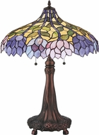 Meyda Tiffany 30452 Wisteria Tiffany Beige Pink Purple Blue Table Lamp
