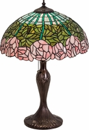 Meyda Tiffany 31143 Cabbage Rose Tiffany Purple / Blue / Pink Lighting Table Lamp