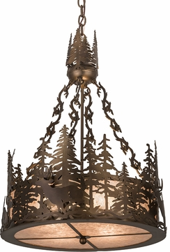 Meyda Tiffany 32127 Deer at Dusk Rustic Antique Copper / Silver Mica Drum Pendant Lighting