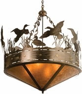 Meyda Tiffany 32133 Ducks in Flight Country Antique Copper / Amber Mica Ceiling Light Pendant