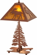 Meyda Tiffany 32519 Lone Moose Tall Pines Country Rust / Amber Mica Table Lamp