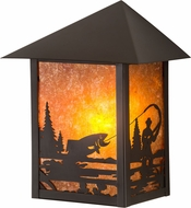Meyda Tiffany 38025 Seneca Fly Fisherman Rustic Amber Mica Craftsman Wall Lamp