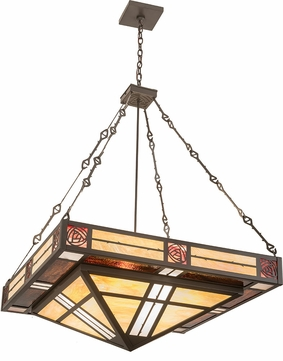 Meyda Tiffany 38731 Bungalow Rose Tiffany Bai Zasb Amber Burgundy Timeless Bronze Pendant Light
