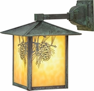 Meyda Tiffany 41201 Seneca Winter Pine Rustic Beige Verd Outdoor Wall Light Sconce
