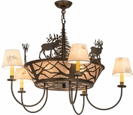 Meyda Tiffany 47704 Elk on the Loose Rustic Antique Copper / Silver Mica Lighting Chandelier