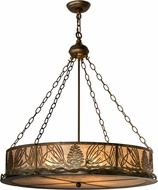 Meyda Tiffany 49494 Mountain Pine Country Antique Copper / Silver Mica Drum Pendant Lamp