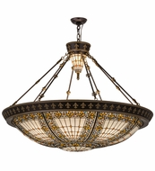 Meyda Tiffany 49726 Fleur-de-lis Tiffany Beige Green/Blue Amber Flush Mount Light Fixture