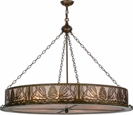Meyda Tiffany 50126 Mountain Pine Rustic Antique Copper / Silver Mica Pendant Light Fixture