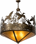 Meyda Tiffany 50139 Ducks in Flight Country Antique Copper / Amber Mica Pendant Light Fixture