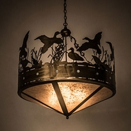 Meyda Tiffany 50145 Ducks in Flight Country Antique Copper / Silver Mica Pendant Light