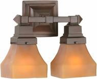 Meyda Tiffany 50361 Bungalow Frosted Amber Amber Etch 2-Light Lighting For Bathroom