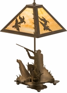 Meyda Tiffany 50401 Duck Hunter w/ Dog Rustic Antique Copper Table Lamp