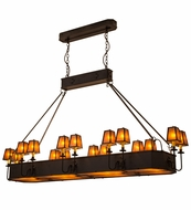 Meyda Tiffany 51057 Carpathian Craftsman Oil Rubbed Bronze/Amber Mica Kitchen Island Light
