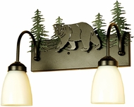Meyda Tiffany 51063 Northwoods Lone Bear Country Black / Green Trees Bathroom Light