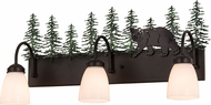 Meyda Tiffany 51064 Northwoods Lone Bear Rustic Textured Black / Green Trees Bathroom Lighting