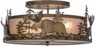 Meyda Tiffany 51092 Moose at Dusk Rustic Antique Copper / Silver Mica Flush Ceiling Light Fixture
