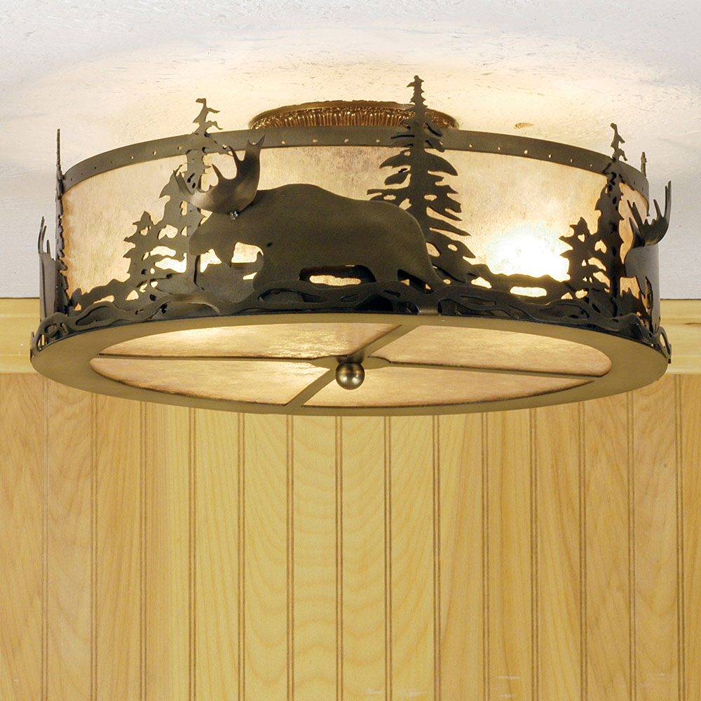 Meyda Tiffany 51095 Moose At Dusk Country Antique Copper / Silver Mica  Flush Mount Ceiling Light. Loading Zoom