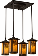 Meyda Tiffany 59330 Fulton Winter Pine Rustic Craftsman Multi Drop Ceiling Lighting