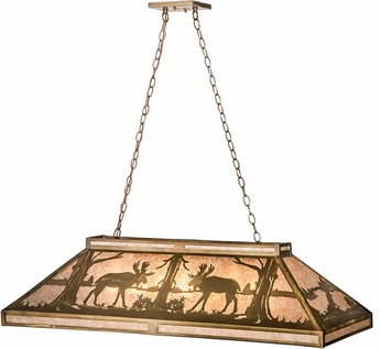 Meyda Tiffany 65098 Moose at Lake Silver Mica Antique Copper Kitchen Island Light