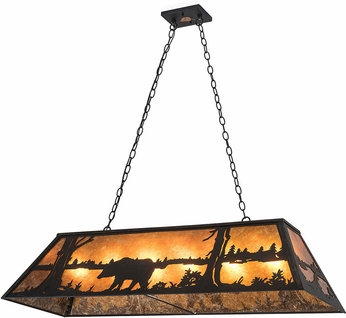 Meyda Tiffany 66210 Bear at Lake Rustic Textured Black / Amber Mica Island Light Fixture