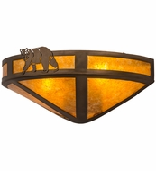 Meyda Tiffany 67990 Northwoods Lone Bear Antique Copper/Amber Mica Wall Lamp