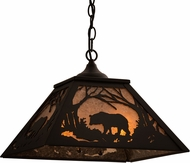 Meyda Tiffany 68108 Bear at Dawn Rustic Black / Silver Mica Drop Ceiling Light Fixture