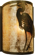 Meyda Tiffany 68185 Heron Left Country Antique Copper / Silver Mica Wall Mounted Lamp