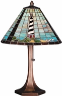 Meyda Tiffany 69409 Cape Hatteras Lighthouse Tiffany Purple / Blue Amber Table Lamp Lighting