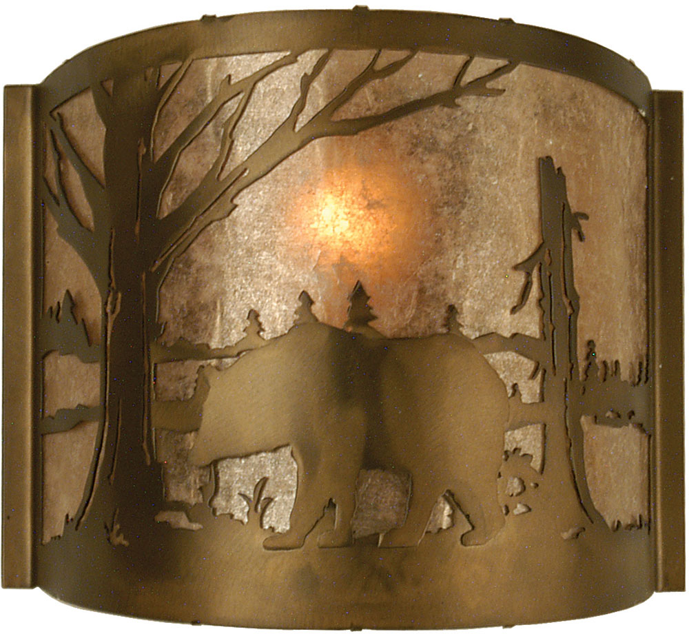 Rustic Copper Wall Lights : Meyda Tiffany 73308 Bear at Lake Rustic Antique Copper / Silver Mica Wall Lighting - MEY-73308