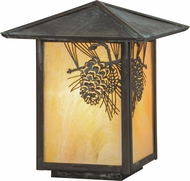 Meyda Tiffany 73549 Winter Pine Rustic Bai Verd Outdoor Lamp Post Light