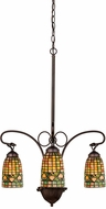 Meyda Tiffany 73983 Tiffany Acorn Tiffany Mahogany Bronze Mini Chandelier Lamp