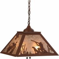 Meyda Tiffany 76323 Quail Hunter W/Dog Rustic Rust / Silver Mica Drop Lighting