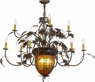 Meyda Tiffany 79860 Greenbriar Oak Country Antique Copper / Burnished Chandelier Lamp