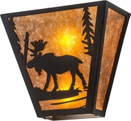 Meyda Tiffany 81105 Moose Creek Country Textured Black / Amber Mica Wall Sconce Lighting