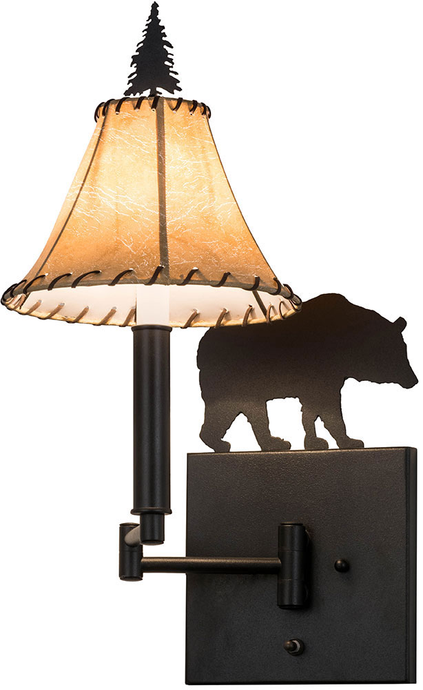 Black Rustic Wall Lights : Meyda Tiffany 81467 Black Bear Rustic Textured Black Wall Light Sconce - MEY-81467