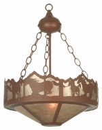 Meyda Tiffany 81468 Wild Horses Rust Finish 60  Tall Mini Hanging Chandelier