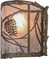 Meyda Tiffany 82134 Whispering Pines Rustic Antique Copper / Silver Mica Wall Lamp
