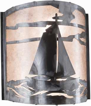 Meyda Tiffany 82563 Sailboat Rustic Industrial Steel Silver Mica Wall Light Fixture
