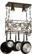 Meyda Tiffany 82756 Whispering Pines Country Antique Copper LED Pot Rack