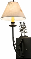 Meyda Tiffany 82848 Pressed Foliage Tall Pines Country Textured Black Wall Lamp
