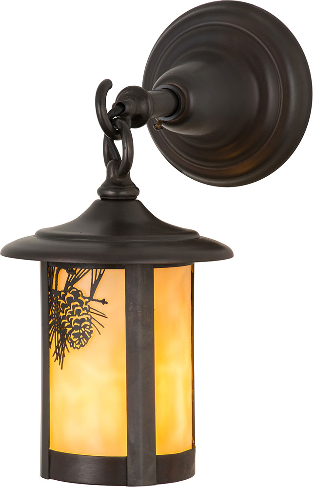Meyda Tiffany 90846 Fulton Winter Pine Rustic Beige Craftsman Outdoor Wall Light Fixture - MEY-90846