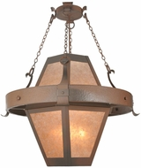 Meyda Tiffany 98139 Bonanza Rust / Wrought Iron / Silver Mica Exterior Ceiling Pendant Light