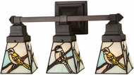 Meyda Tiffany 98392 Backyard Friends Tiffany Seafoam Beige Grey 3-Light Bath Lighting
